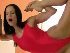 Very Sexy Elastic Girl Fucks Wall dildo